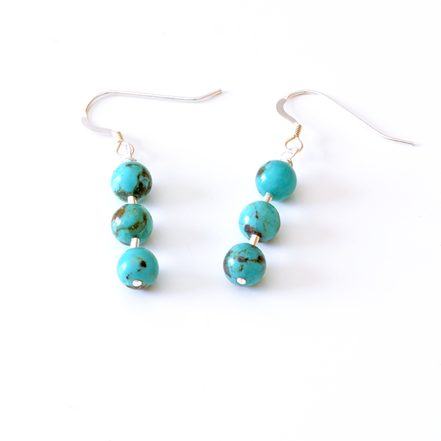 925 Sterling Silver And 100 Genuine Turquoise Earrings Three Drop